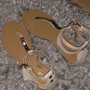 diba sandals (cream leather and gold detail)